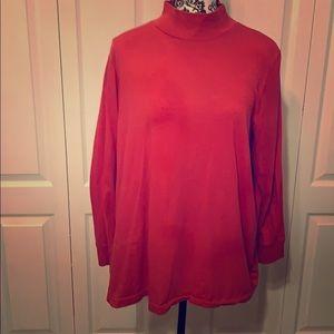 Red mock neck long sleeve shirt